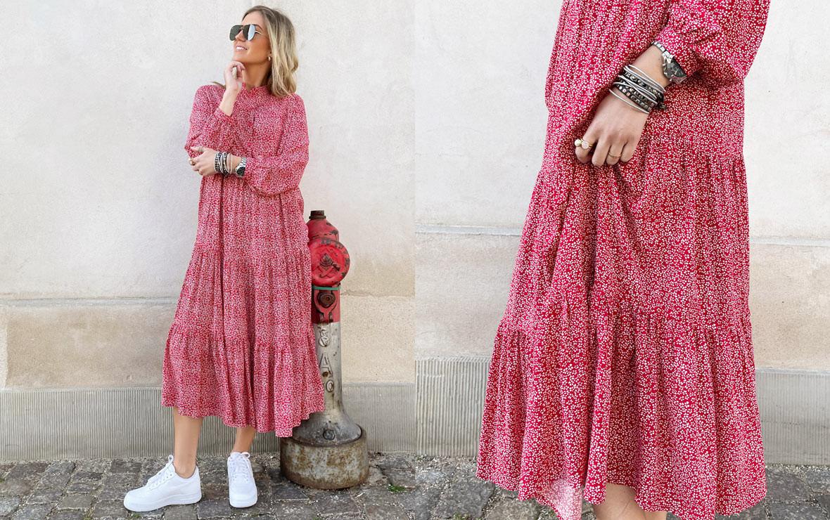 Langærmede kjoler - Skøn rød kjole med langt ærme