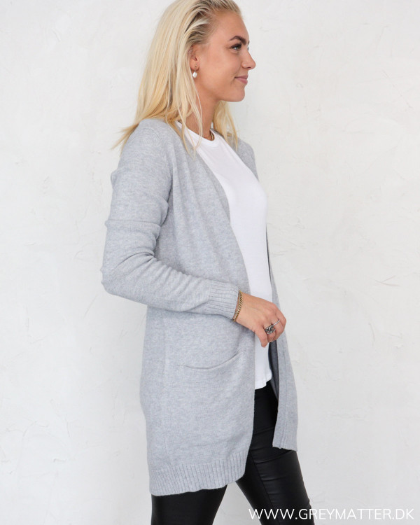 Vila Viril Light Grey Melange Open Knit Cardigan