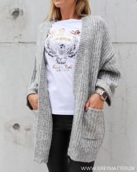 Yassunday Light Grey Melange Knit Cardigan
