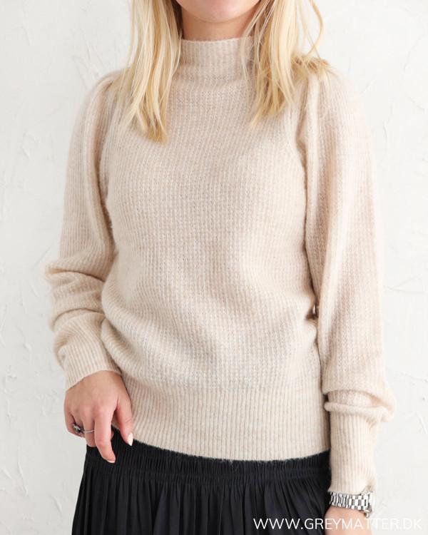 Neo Noir Marlia Sand Melange Knit Blouse
