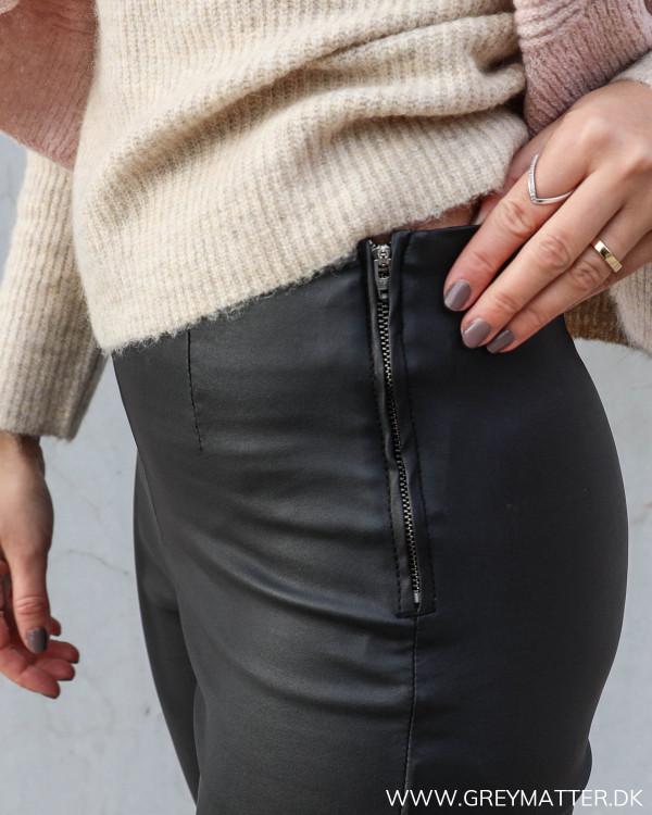 Pieces leggings i sort med lynlås i siden