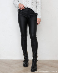 Vicommit Black Coated Zip Pants