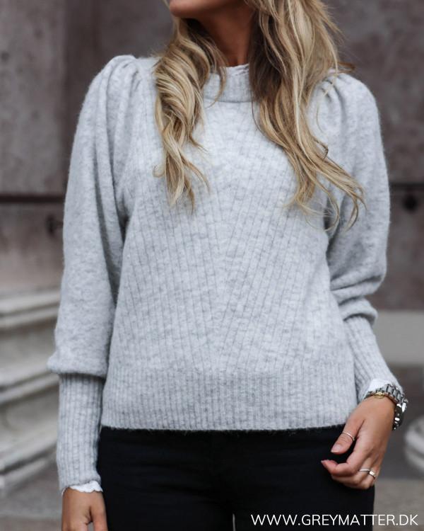 Kelsey Light Grey Melange Knit Blouse