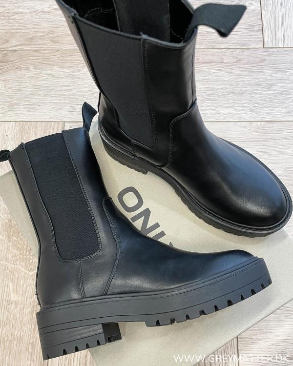 Onlbrandy Black Chunky Elastic Boots