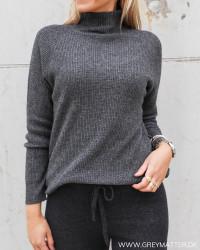 Dark Grey Melange Turtleneck Knit