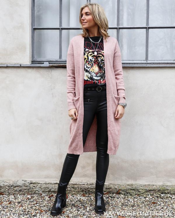 Lang cardigan fra Vila i rosafarve