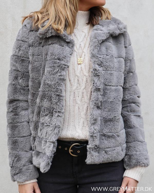 Vifarry Grey Faux Fur Jacket