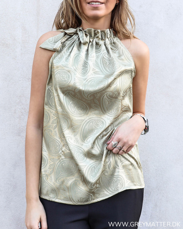 Gold Paisley Ruffle Tie Top