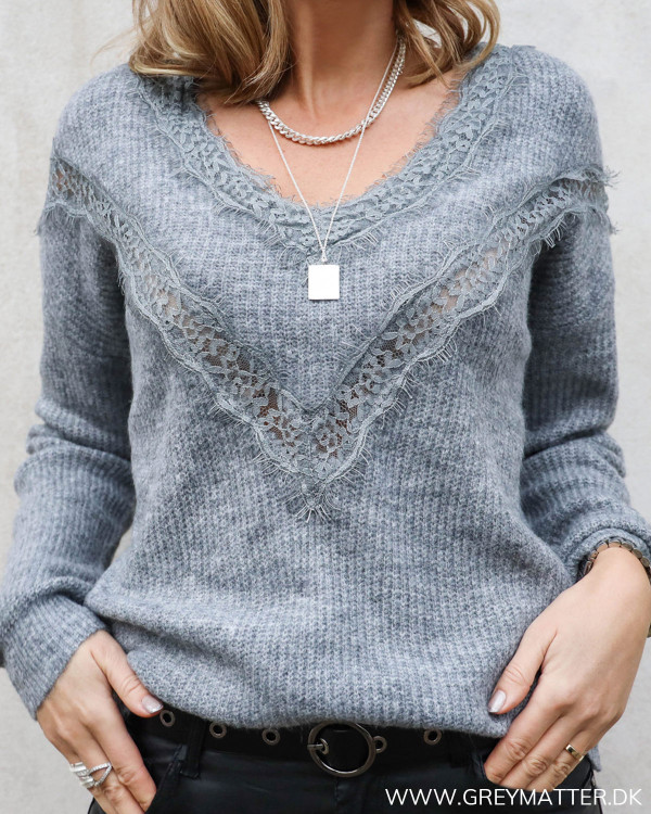 Grey Lace V-Neck Knit