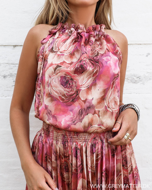 Karmamia ruffle tie top i pink farver
