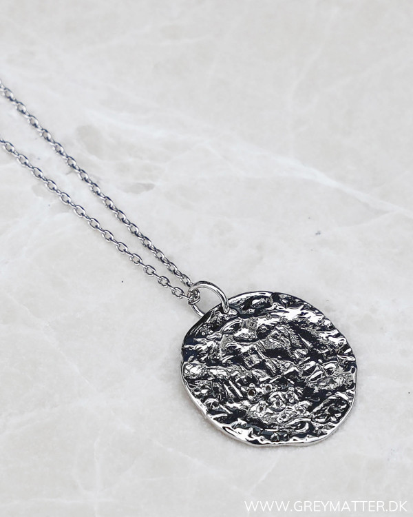 Long Medal Silver Necklace
