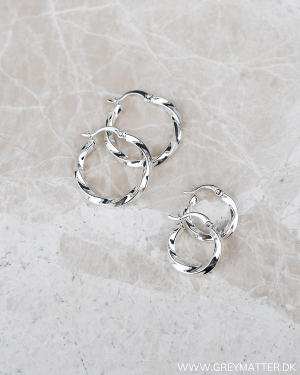 Medium Silver Twisted Hoops