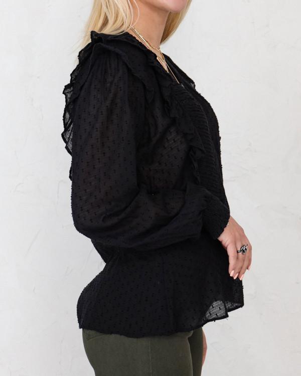 Neo Noir Ane Dobby Black Blouse