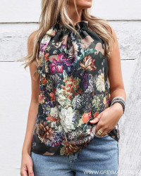 Flower Camouflage Ruffle Tie Top