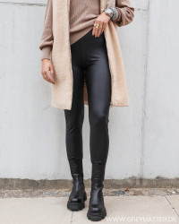 Pcnew Shiny Fleece Black Leggings