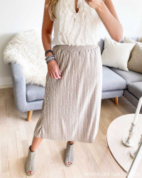 Vipleasa Simply Taupe Midi Skirt